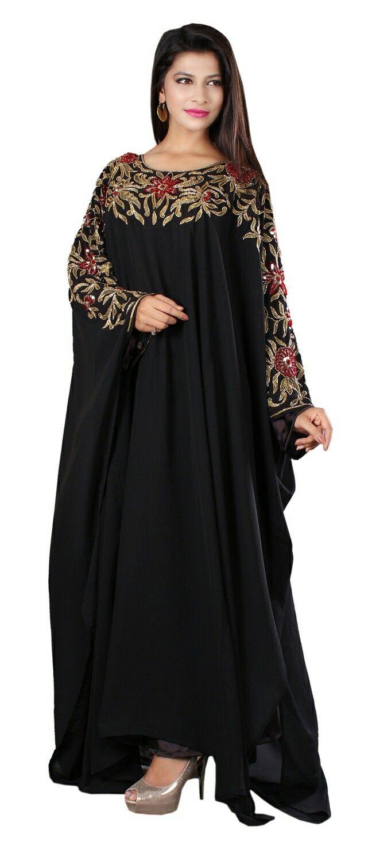 Balck hand beaded Abaya kaftan dress http://www.dubaikaftans.com/dubai-very-fancy-kaftans-628