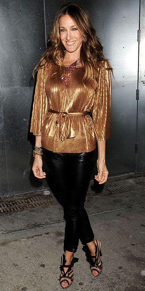 Sarah Jessica Parker In Bronze Halston Top Leather Pants
