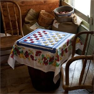 Button Checkers Tablecloth Set By Moda Home Featured In