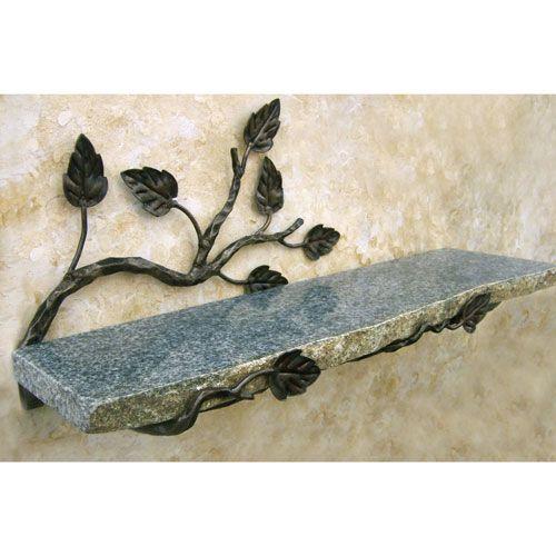 Aspen Boulder Shelf a use for the free marble we just got...the smaller piece...loose the leaves..make it more vines...twists and spirals  вообще сама по себе полка из серого гранита хороша... к ней еще с боков мааленькие ограничители на разном уровне и красота...