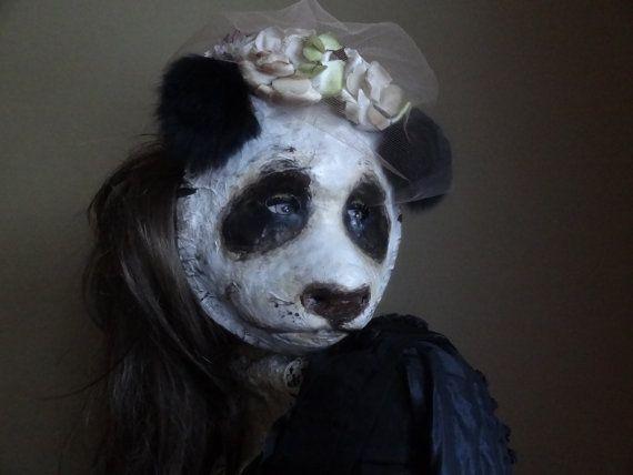 These masks are soooooo cool!!!!!!!!!!!!!!!! Halloween costume animal head mask panda bear by MiesmesaBerni, $128.00