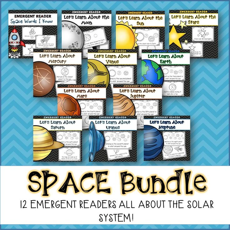 12 Emergent readers about Space! Includes space vocabulary, the sun, the moon, the stars, and all of the planets!