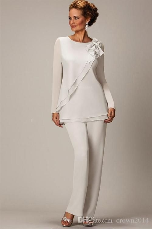 Ivory Mother Of The Bride Pant Suits Plus Size Long Sleeve