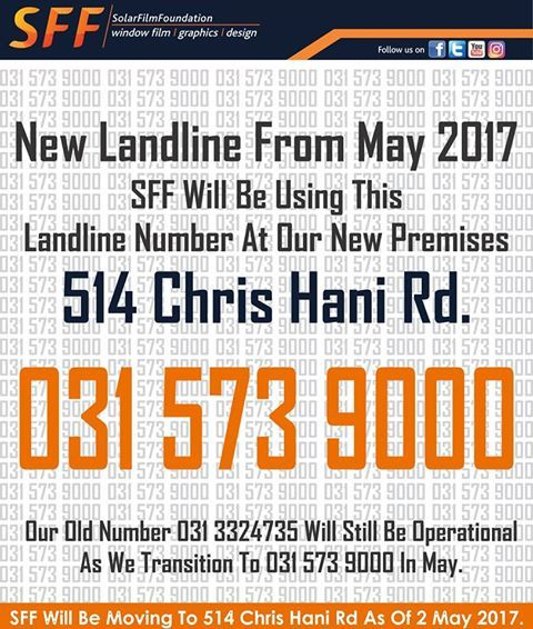 SFF new contact details.  Address: 514 Chris Hani Road, Durban North Landline: 031 573 9000 Fax no: 031 563 0020