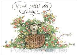 Janosch Maus Postkarte - Hoch sollst du Leben. Spruch zum Geburtstag