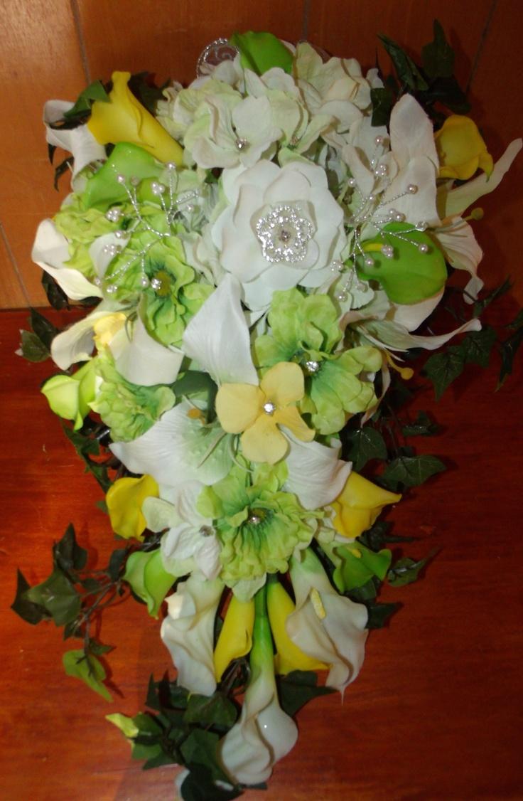 55.00 Brides calla lilly cascading bouquet www