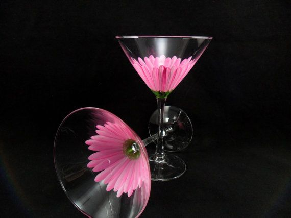 Pink Daisy Hand Painted Martini Glasses Set of by PaintingByElaine, $40.00