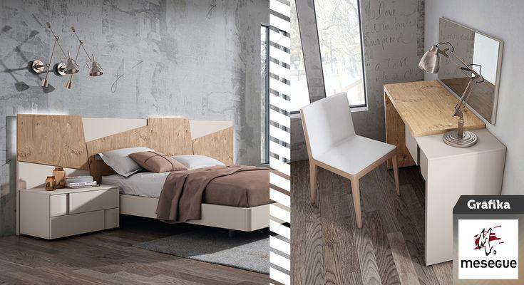 Dormitorio de nuestra colección #Gráfika. Cabecero modelo #Tetris de roble y tonalidades almendra.  #MueblesMesegué #Gráfika #Dormitorios #Decoración #Interiorismo