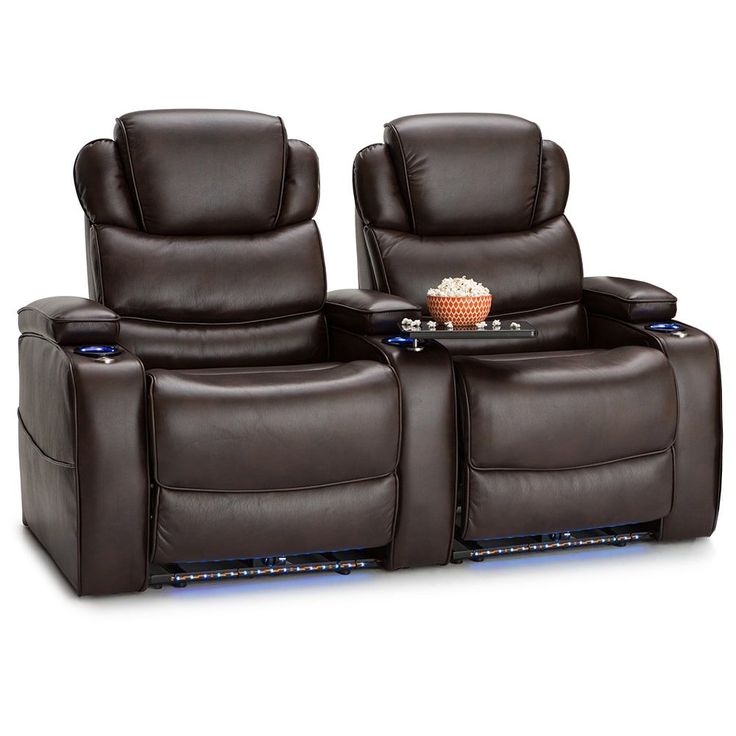 Barcalounger Columbia Leather Gel Home Theater Seating Power Recline - Row of 2,