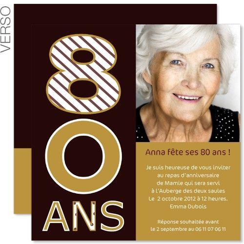Modele Invitations Anniversaire Adulte 80 Ans Or Et Chocolat