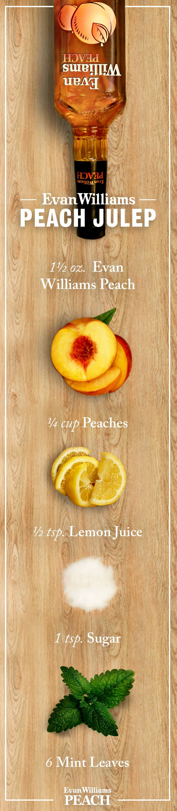 Searching for a classic Peach cocktail? Try an Evan Williams Peach Julep and enjoy! #Bourbon