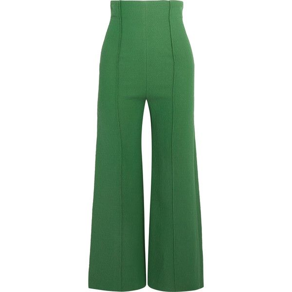 Emilia Wickstead Hullinie cloqué wide-leg pants (£750) ❤ liked on Polyvore featuring pants, emilia wickstead, dark green, wide leg trousers, green wide leg trousers, tailored pants, rayon pants and tailored trousers