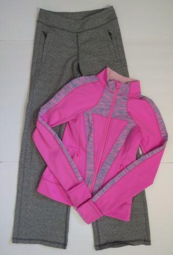 Ivivva Perfect Your Practice Pink Jacket & Grey Pants Lot Size 10-12 Lululemon