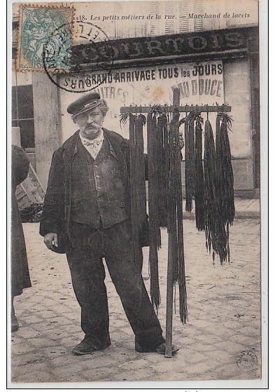 """TOURS : """"les petits métiers de la rue"""" - le marchand de lacets vers 1910"""