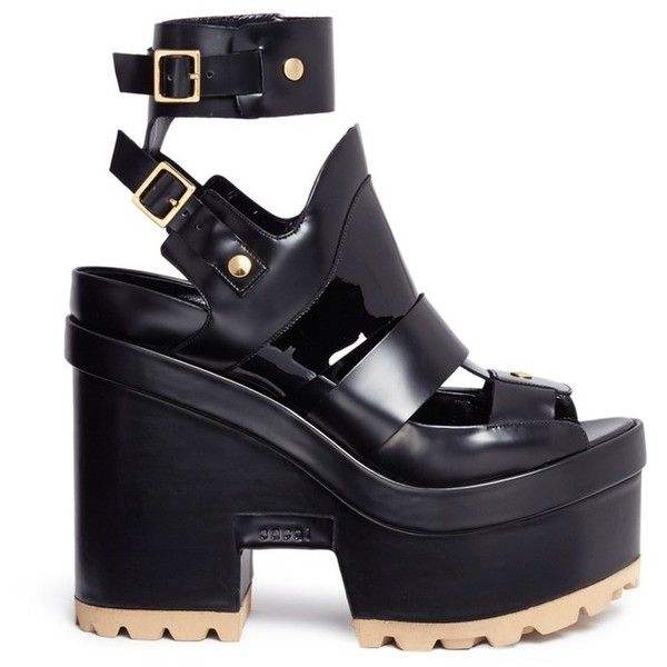 Sacai x Pierre Hardy caged leather platform sandals (€1.495) ❤ liked on Polyvore featuring shoes, sandals, black, black sandals, kohl shoes, black cage shoes, leather shoes and caged shoes