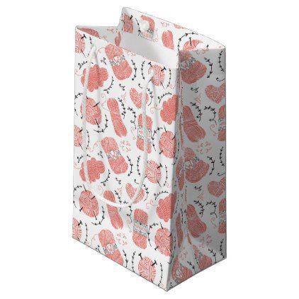 Knitting Yarn Pattern Pink Small Gift Bag  $9.20  by JunkyDotCom  - cyo customize personalize unique diy idea