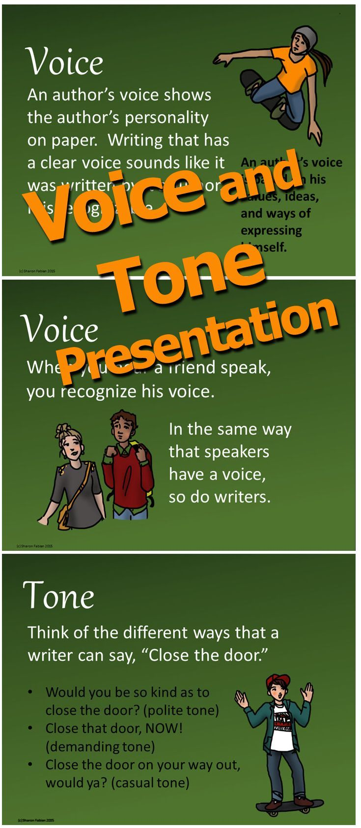 Voice and Tone Presentation introduces and explains the concepts of voice and tone in writing. The text is clear and carefully explains these concepts which can be confusing for students. Formal and informal voices are discussed, and lists of words that could describe various voices and tones in writing are provided.
