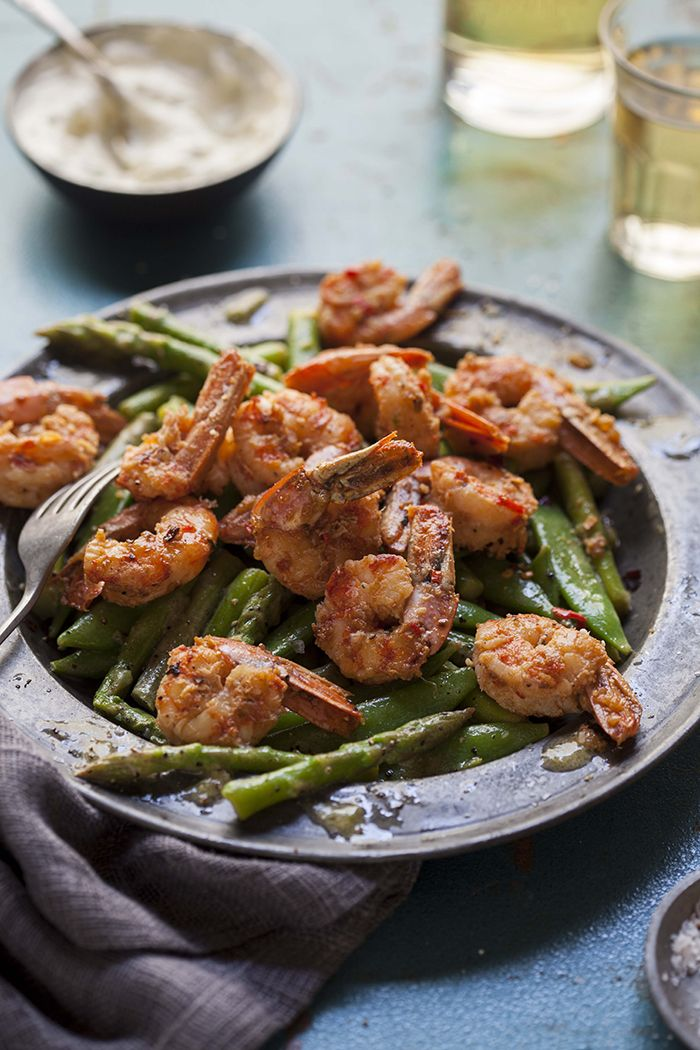 Pan fried prawns with chilli, garlic and brandy on an asparagus and pea salad - DrizzleandDip.com Photography - Samantha Linsell
