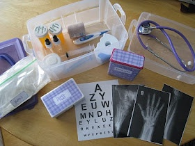 Homemade doctor kit with real items. I love this!!
