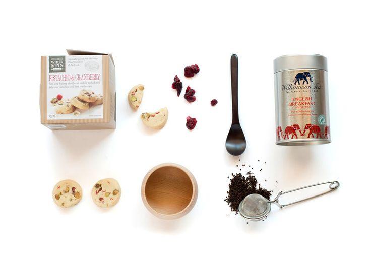 Tea's Up Williamson  Loose Leaf Tea 100G or Boxed Tea Bags 125G  - Whisk & Pin Pistachio & Cranberry Shortbread Bite Size Cookies 150G - Robert Gordon Mug - Sands Made Handmade Spoon.