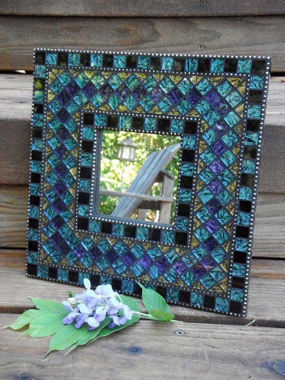 Blue & Purple Mosaic Mirror por MosaicObsession en Etsy