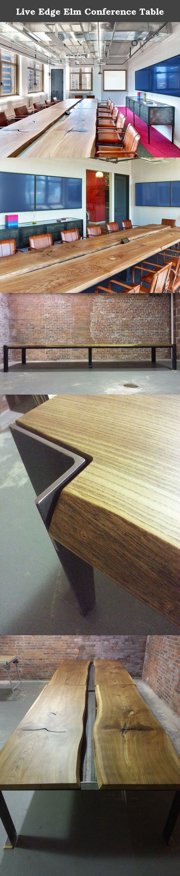 """Live Edge Elm Conference Table. This listing is to showcase my Giant Elm slab conference table. This table is 192"""" x 60"""" x 29"""" with 1/4"""" x 3"""" x 5"""" legs and a generous 1/4"""" x 2"""" x 6"""" cable tray running down the middle. The four matched Elm slabs are about 2.0"""" thick. This is a very heavy and solid table. About 1000 pounds. The Elm is all hand sanded and finished with 5 coats of specially formulated oil to a baby soft luster. The legs are cleaned and hand rubbed with a hot wax finish. Both…"""