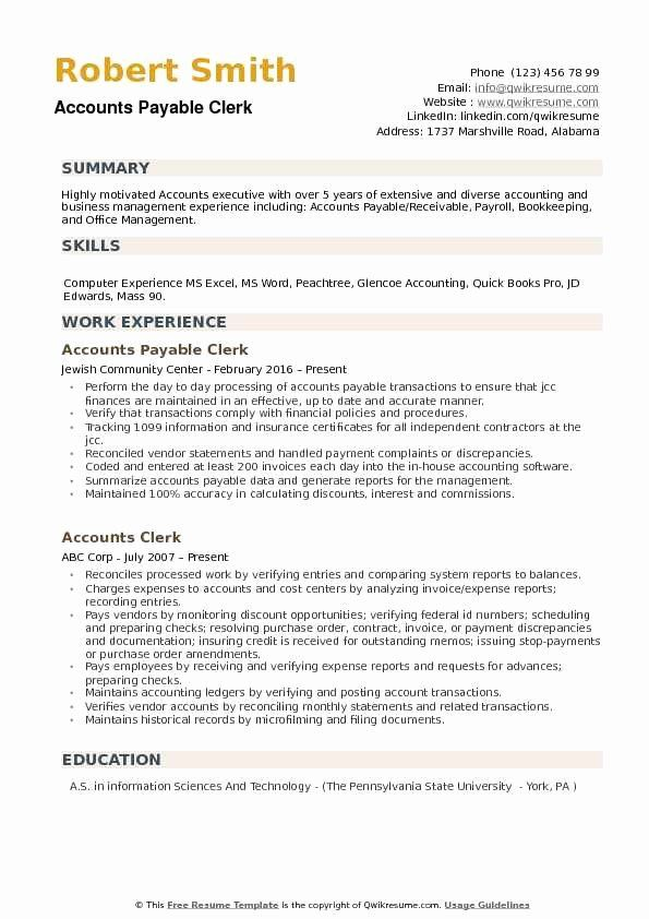 Accounts Payable Job Description Resume Elegant Accounts Payable Clerk Resume Samples In 2020 Job Resume Samples Teacher Resume Examples Accounts Payable