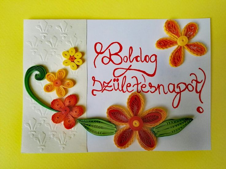 quilling and embossing    birthday postcard with a lot of flower (2017.august for my godmother)