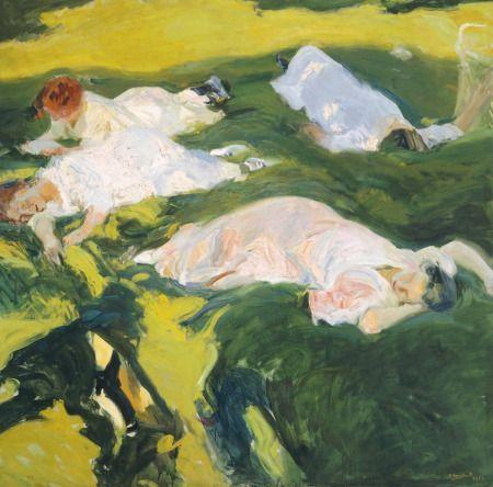 "Cuadro ""La Siesta"" de Joaquín Sorolla, impresionismo moderno."