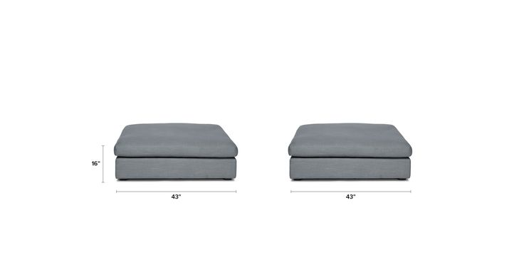 Cube Thunder Gray Ottoman - Sectionals - Bryght | Modern, Mid-Century and Scandinavian Furniture