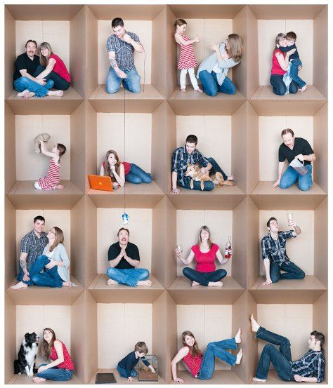 Family Photo Grid - Fun in a cardboard box! Huge cardboard box for people to pose in and put them together!! Genius!!!