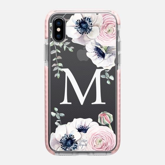 dacd4d10eb Casetify iPhone X Impact Case - Flower Blossom Love Monogram by Nature  Magick - Letter M Floral Flowers Initial by Nature Magick Design Studio