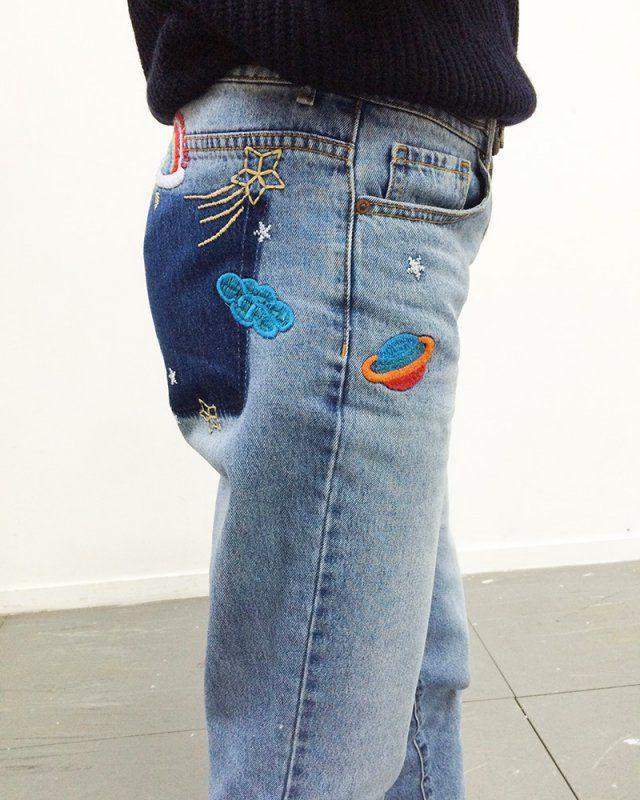 Broderies constellations / broder un motif sur un jean / embroidery