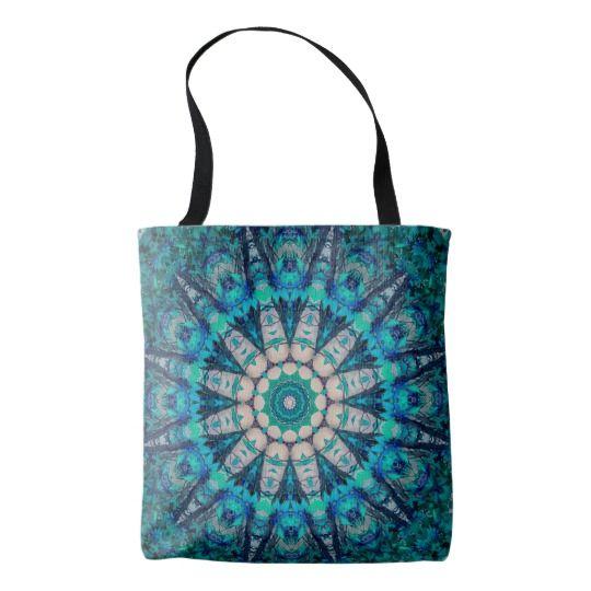 Blue Mandala All-Over-Print Tote Bag by www.zazzle.com/htgraphicdesigner* #zazzle #gift #giftidea #bag #totebag #mandala #kaleidoscope #abstract #summer #blue #turquoise