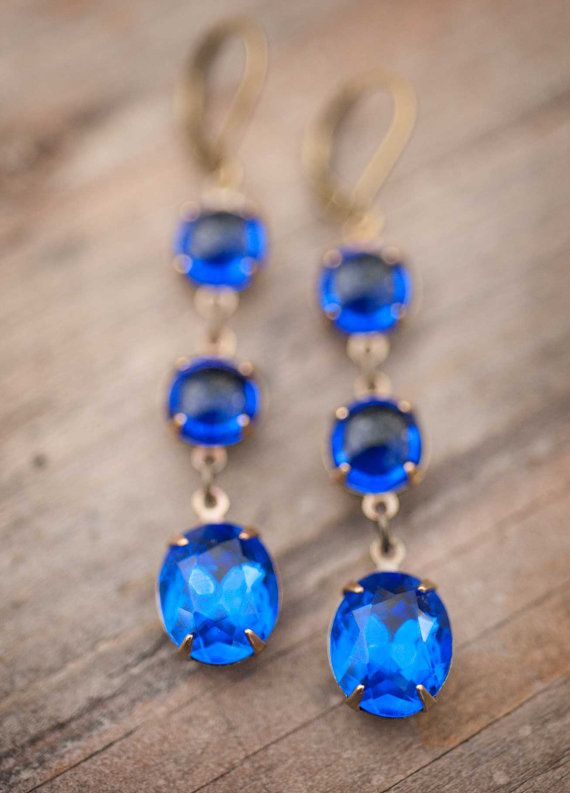 Sapphire Earrings  Estate Style Vintage Glass and by NotOneSparrow, $28.00