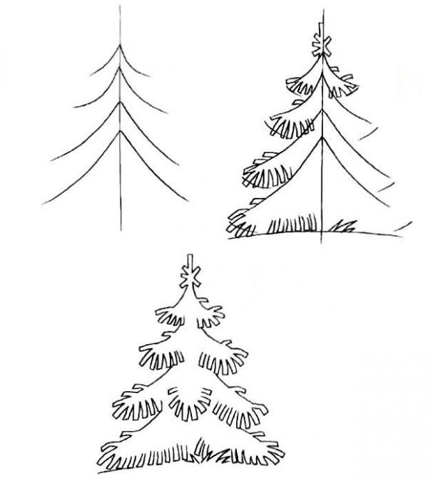 How To Draw A Tree Step By Step Image Guides Seasons Art Christmas Doodles Art Lessons