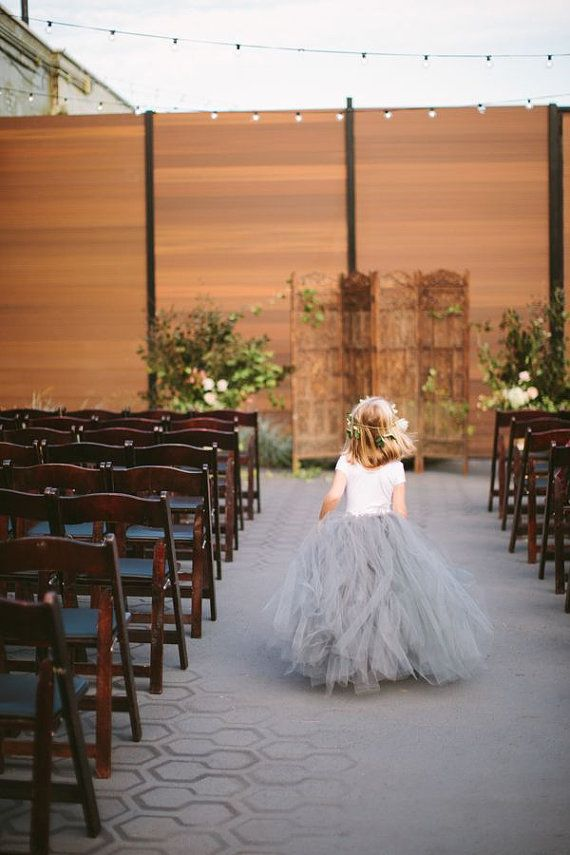 Dove Grey Tulle Skirt -  Sewn Gray Tutu Skirt - in your choice of size and length - Flower girl, special occasion, bridal party - Silver