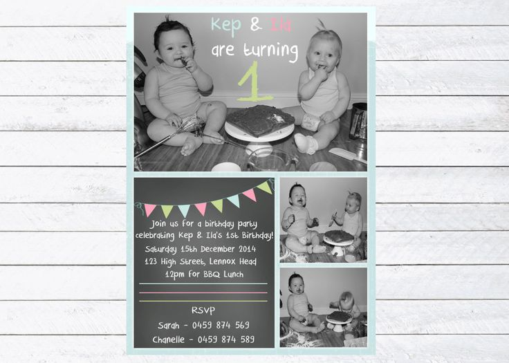 Double Birthday Party Invitation, Girl Boy Joint Birthday Party Design, Cake Smash Fun! Personalised Digital Print, by LittleFeetInvites on Etsy