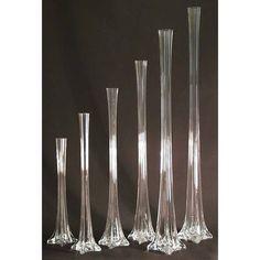Tall Eiffel Tower Glass Vase Centerpiece, 12-inch, Clear