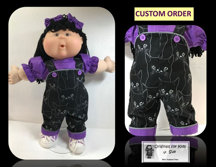 """Sue Lia You saved to """"Originals for Kids by Sue"""" -- Cabbage Patch Kid Doll Clothes to fit Cabbage Patch Kids --- fits 16 --- """"Black Silhouette Cat"""" Overall Outfit (perfect for Halloween)  EBAY and ETSY shop name:  hudson77ma  FACEBOOK:  Originals for Kids by Sue AKA hudson77ma"""