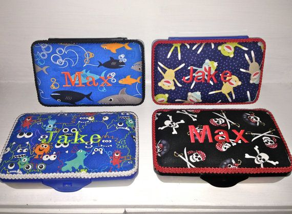 Personalized Pencil Box For Boys. 4 Fabrics To Choose by CeeJaze, $12.00