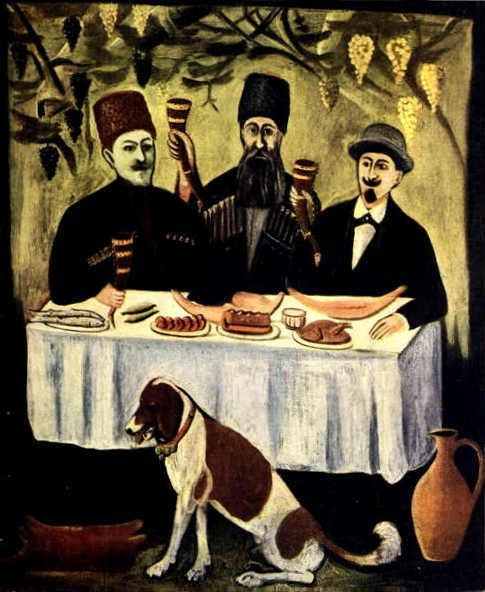 Feast In The Grape Pergola - Niko Pirosmani (1862 - 1918)
