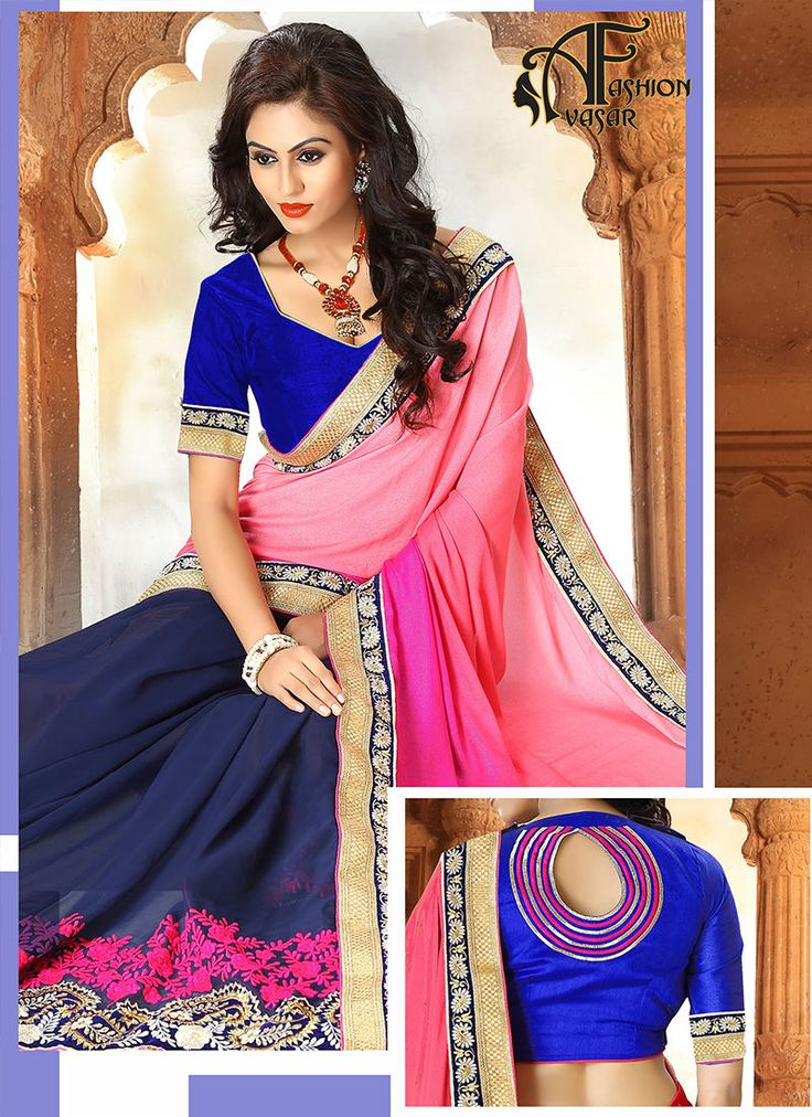 pink and royal blue saree online.Appear stunningly desirable with this Royal Blue & Salmon Georgette Saree. The ethnic Crystals & Butta Work work at the