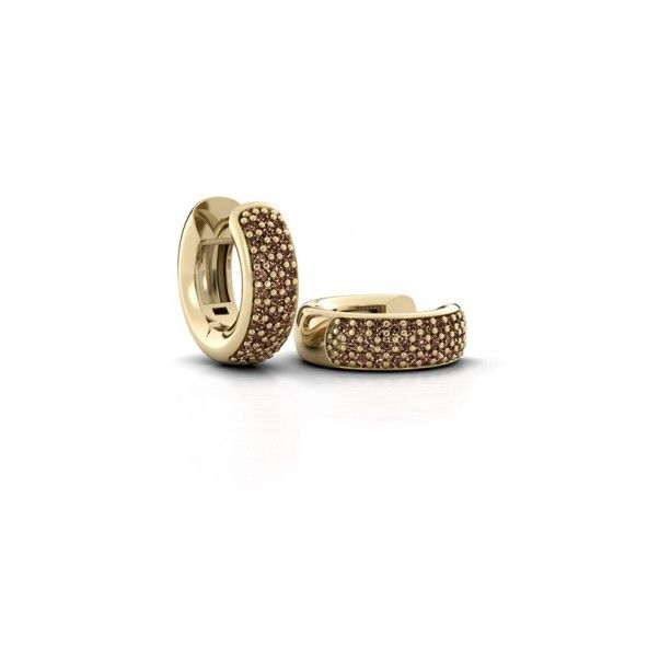 Lana creolen - gemaakt van 14 karaat geelgoud en verrijkt met totaal 0.36 ct bruine diamanten.