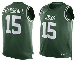 New York Jets #15 Brandon Marshall Green Player Name And Number Tank Top