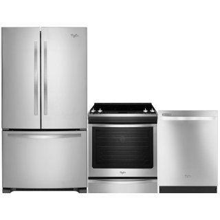 Jumelez la commodité culinaire et la belle apparence au moyen de cet impressionnant ensemble réfrigérateur, cuisinière et lave-vaisselle de Whirlpool. Doté d'une capacité de 22 pi³, ce réfrigérateur à portes françaises possède un système de gestion de la température Accu-Chill(MC) qui conserve vos aliments à leur meilleur, tout en économisant de l'énergie. Attrayante et pratique, cette cuisinière électrique est munie d'un four de 6,2 pi³ qui possède la technologie de cuisson par convection…