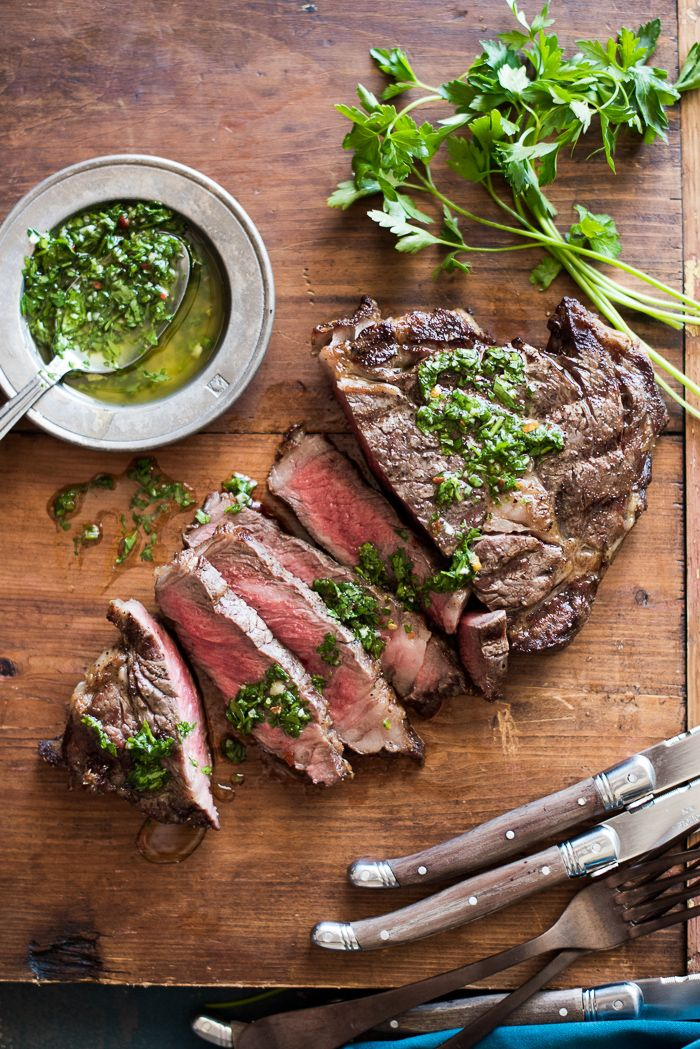 Fathers Day: Grilled Rib-Eye Steaks with Fresh Chimichurri Sauce