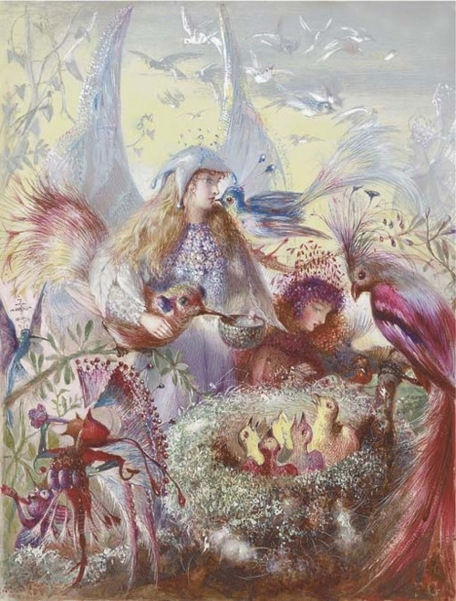 Fairies and a bird's nest by John Anster Fitzgerald