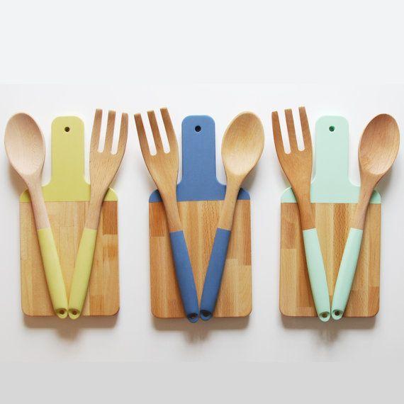 Paddle planche à découper et Set d'ustensiles de cuisine | Choisissez votre couleur | Cadeau de l'hôte | Salade ensemble de service en bois | Planche à découper en bois | Cuillère de bois