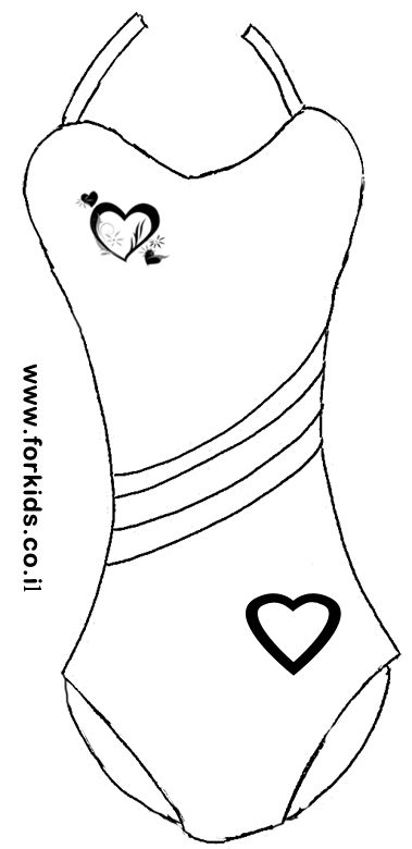 swim coloring pages - coloring page of girl swimsuit with harts